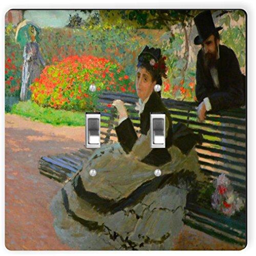 Rikki Knight 3482 Double Toggle Claude Monet Art Camille Monet On A Garden Bench Design Light Switch Plate