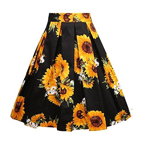 Fit Design Women's A-Line Vintage Pleated Sunflower Floral Print Midi Skirt(Color21,S)