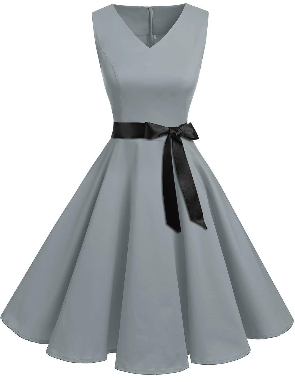 4ae432583a7bb Bridesmay Robe Femme Vintage Années 50 60 Pin Up Eté de Soirée Cocktail  Cérémonie Rétro Audrey Hepburn Rockabilly Swing Col en V sans Manche