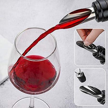 Mostop Waiter - Juego de abridor de vino multifuncional con sacacorchos, acero inoxidable, silicona, 4 abridores de botellas, aparato para verter vino, anillo a prueba de fugas para vino, cerveza