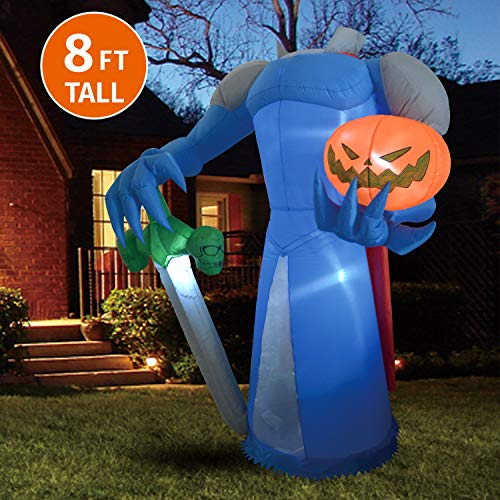 20 Ft Inflatable Halloween Cat (Joiedomi Halloween 8 FT Inflatable Pumpkin Knight with Build-in LEDs Blow Up Inflatables for Halloween Party Indoor, Outdoor, Yard, Garden, Lawn)
