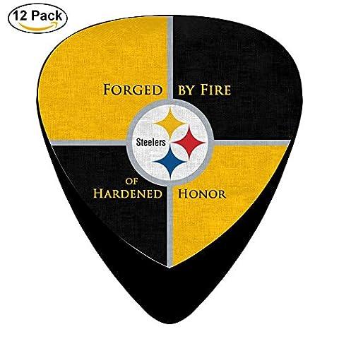 Custom Pittsburgh_Steelers Celluloid Guitar Picks Plectrums for Guitar Bass,12 pack (Raiders Guitar Picks)