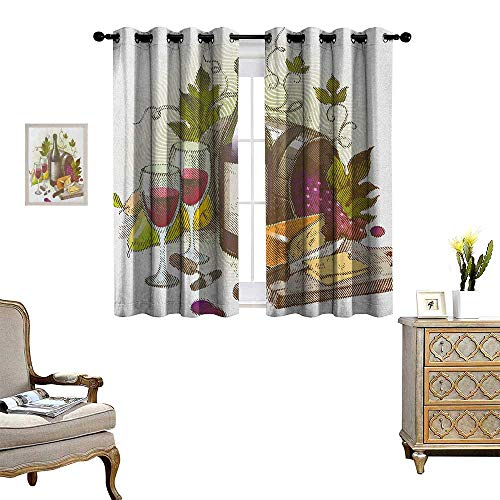 Warm Family Wine Room Darkening Wide Curtains Vintage Style Composition with Wine and Cheese Fruits Gourmet Taste Beverage and Food Customized Curtains W72 x L45 Multicolor from Warm Family