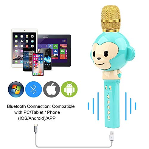 LingHui Kids Microphone Wireless Bluetooth Karaoke Microphone , 3-in-1 Portable Handheld Karaoke Mic Home Party Birthday Speaker Machine for iPhone/Android/iPad/Sony,PC and All Smartphone (Green) by LingHui (Image #4)
