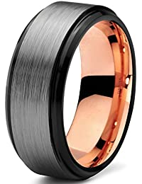 Tungsten Wedding Band Ring 8mm for Men Women Black Grey Rose Yellow Gold Plated Step Beveled Edge Brushed Polished