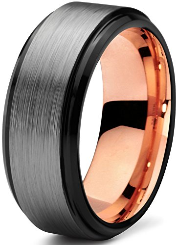 Mens 18k Rose Gold Plated - Midnight Rose Collection Tungsten Wedding Band Ring 8mm for Men Women Black & 18K Rose Gold Plated Beveled Brushed Polished