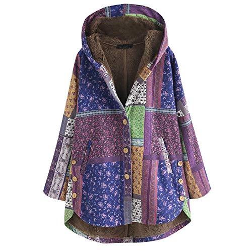 LISTHA Floral Hooded Coat Plus Size Women Vintage Jacket Outwear Warm Overcoat