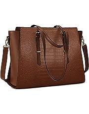 Laptop Bag For Women 15.6 Inch Large Computer Tote Bag Leather Professional Shoulder Bag Women Waterproof Business Office Work Bag Briefcase Travel Handbag Coffee