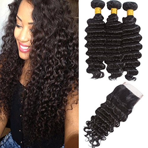 Deep Wave Bundles with Closure Brazilian Virgin Hair Bundle Deals Human Hair Weave Natural Color Brazilian Deep Curl Bundles Human Hair Weave Extensions(20 22 24 + 18,free part) For Sale