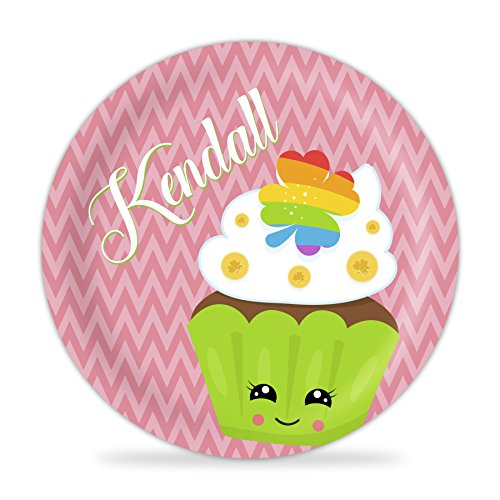 St Patrick's Day Plate - Pink St Patty's Day Cupcake Melamine Personalized Name Plate