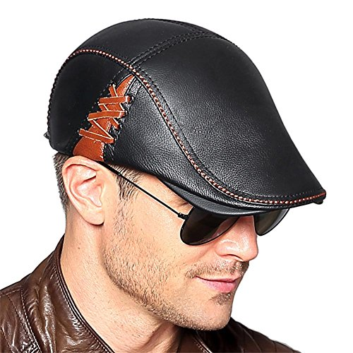 Insun Men's Genuine Leather Newsboy Cap Flap Ivy Cap Driving Cap Black with Brown Stitch - To How Size Measure A Hat Man's