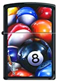 Mazzi 8-Ball Pool and Billiards Black Matte Zippo Lighter