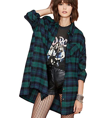 Romacci Women Oversized Plaid Tartan Shirt Buttons Pocket Turn-Down Collar Boyfriend Long Sleeve Baggy Check Blouse Tee Shirt