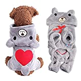 #5: AStorePlus Dog Outfits Pet Apparel, Cute Heart Teddy Bear Costume Jumpsuit Hoodies Sweater Coat Clothes For Small Dogs Puppy Pets Cats, L Grey