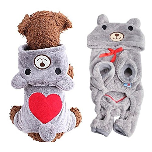 AStorePlus Dog Outfits Pet Apparel, Cute Heart Bear Costume Jumpsuit Hoodies Sweater Coat Winter Warm Clothes For Small Dogs Puppy Pets Cats, M Grey