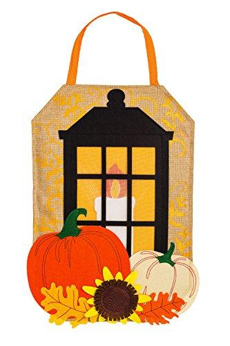 Evergreen Autumn Lantern Lighted Outdoor Safe Burlap Door Decor