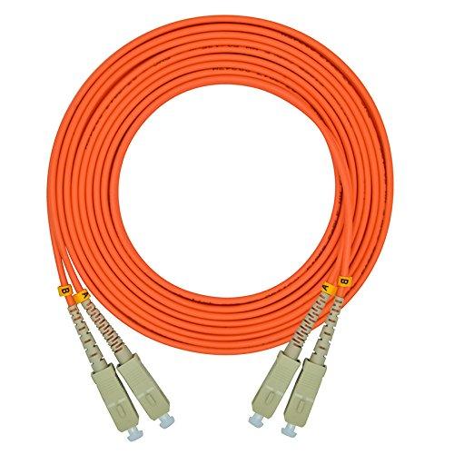 Jeirdus 50Meters 160ft SC to SC Duplex 62.5/125 OM1 Multimode Fiber Optic Cable Jumper Optical Patch Cord SC-SC by Jeirdus