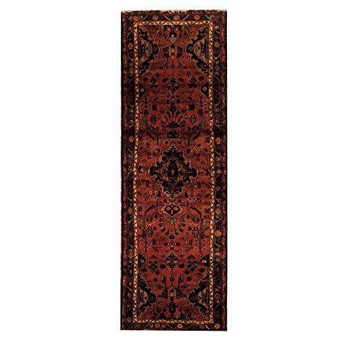 Herat Oriental SHOJ193 1980's Persian Hand-Knotted Tribal Malayer Hamadan Wool Rug, 3-Feet 2-Inch by 9-Feet 8-Inch, Rust/Navy Wool Hamadan Persian Area Rugs