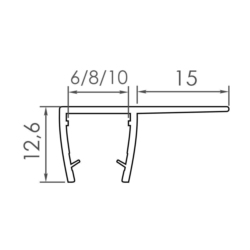 GLASDICHTUNG VA004 6 MM GLAS L/ÄNGE 180cm Dichtung Duschdichtung Ersatzdichtung