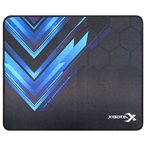 XIBERIA Gaming Mouse Pad / Mat with Textured Surface and Stitched Edges, Non-Slip Rubber for PC, Mac, Computer, Gamer, 13.7 × 11 inches