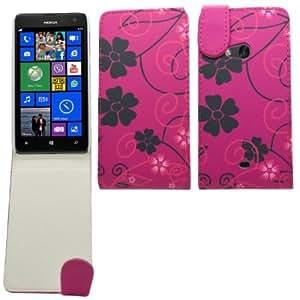 Bloutina SAMRICK - Nokia Lumia 625 - Floral Flowers Specially Designed Leather Flip Case & Screen Protector/Foil/Film/...