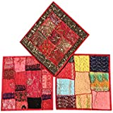 """Set Of 3 Boho Decorative Indian Throw Pillow Cases Cotton Pink Embroidered Patchwork Cushion Cover 16 """" x 16 """""""