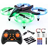 Veken Mini RC Drone Quadcopter for Kids Adults 2.4Ghz 4 Ch 6-Axis Gyro RC Helicopter with Led Lights, Auto Hovering, One Key Take Off/Landing, 3D Flip, Headless Mode Good Choice Drone for Beginners