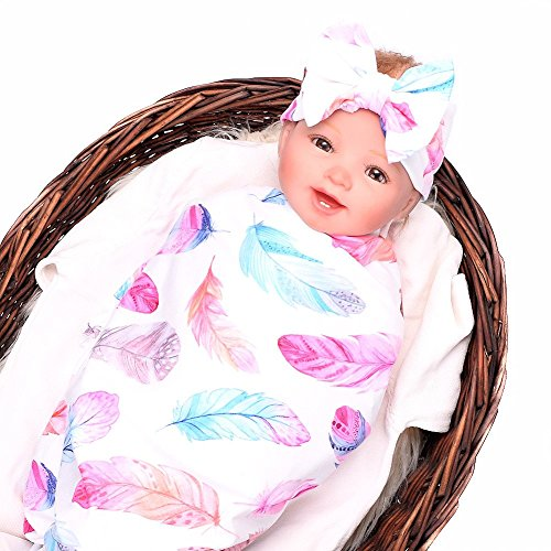 Baby Sleep Swaddle Blanket Large and Bow Headband Set Ananas Fox Flower Elephant Print Swaddle Blanket 47 inch X 47 -
