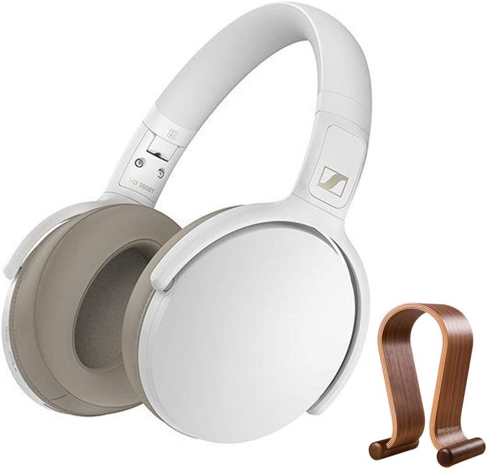 Sennheiser 508385 HD 350BT Bluetooth Around Ear Headphones White Bundle with Deco Gear Wood Headphone Display Stand Secure Tabletop Holder