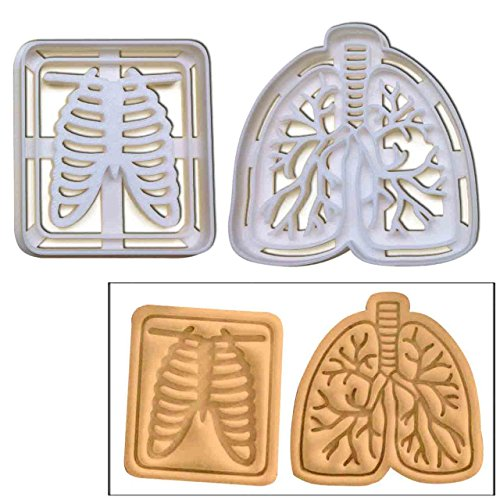 SET of 2: Chest X-Ray & Lungs cookie cutters, 2 pcs, Ideal for Medical Health Care themed party