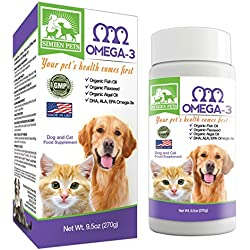 ORGANIC Omega 3 Dogs & Cats - Fish, Algal & Flaxseed Oils - Shinier Coat & Skin - Optimal Heart, Brain & Eye Health - Anti inflammatory & Longevity Formula - DHA, EPA, ALA - Bonus eBook - by SIMIEN