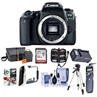 Canon EOS 77D DSLR Body - Bundle with 32GB SDHC Card, Camera Bag, Tripod, Compact Charger, Remote Shutter Release, Cleaning Kit, Memory Wallet, Card Reader, Flip Flash Bracket, Software Package