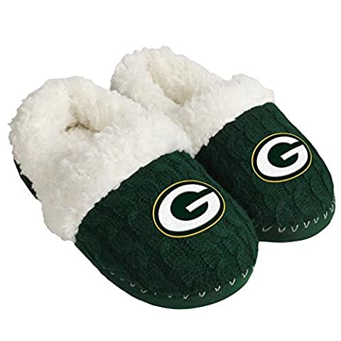 NFL Football Womens Team Logo Fur Moccasin Slippers Shoe - Pick Team (Green Bay Packers, Large) - Green Bay Packers House
