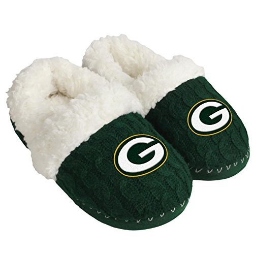 (FOCO NFL Green Bay Packers Team Color Fur Moccasin Slippers Shoe, Team Color, Large (9-10))