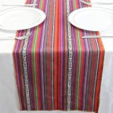 TRLYC 35cm x 275cm Mexican Serape Table Runners for Mexican Party Wedding Decorations Fringe Cotton Table Runner