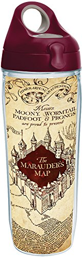 Tervis 1231539 Harry Potter - The Marauder's Map Tumbler with Wrap and Maroon Lid 24oz Water Bottle, Clear by Tervis