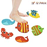 kupik Non-Slip Bathtub Stickers. 12 Large Sea Creature Decal Treads. Eco-Friendly Silicone Non Slip. Longest Lasting Anti-Slip. for Bathroom Bathtub Floor Safety