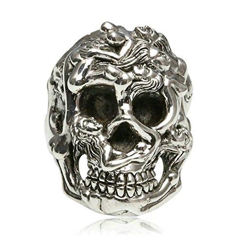 Bishilin Silver Plated Mens Ring Skull Partner Rings Silver Anniversary Size 10 by Bishilin