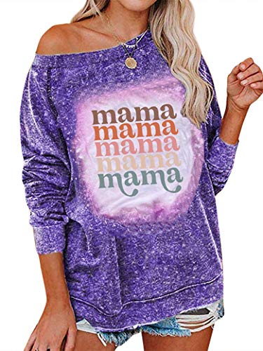 PLNCAYFZ Women Mama Letter Print Crew Neck Mothers Day Sweatshirt Tops Purple