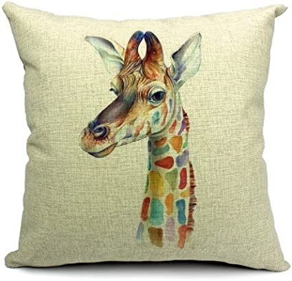 Wildlife Animals Giraffe Printed Linen Cushion Cover Amazon Co Uk Kitchen Home