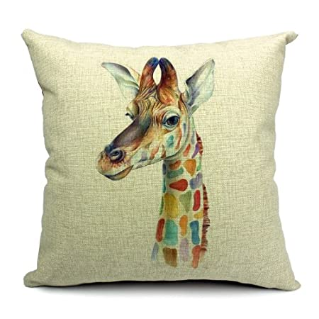 Wildlife Animals Giraffe Printed Linen Cushion Cover Amazoncouk Delectable Giraffe Print Body Pillow Cover