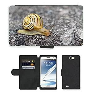CARD POCKET BOOK CASE PU LEATHER CASE // M00103790 Snail Shell del molusco Animal Camino // Samsung Galaxy Note 2 II N7100