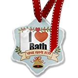 Add Your Own Custom Name, I Love Bath region: South West England, England Christmas Ornament NEONBLOND