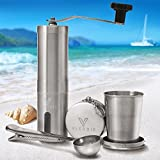 Premium Manual Coffee Grinder with Foldable Cup and Spoon -...