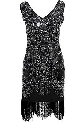 BABEYOND Beaded Fringe 1920s Cocktail Gatsby Art Deco Flapper Dress