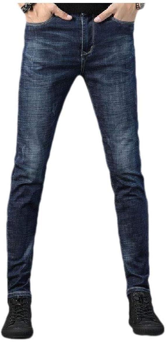 YAXINHE メンズフリースポケットソリッドミッドウエスト破壊ファッションウォッシュジーンパンツ