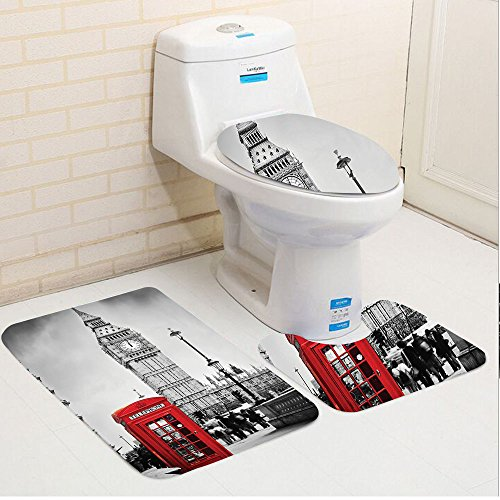 Keshia Dwete three-piece toilet seat pad customLondon Historical Old Tower Bridge in London British Skyline Ancient Cultural Monuments View Grey Red