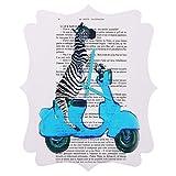 Deny Designs Coco de Paris, Zebra On Blue Vespa, Quatrefoil Clock, Medium