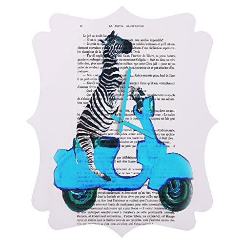 Deny Designs Coco de Paris, Zebra On Blue Vespa, Quatrefoil Clock, Medium by Deny Designs