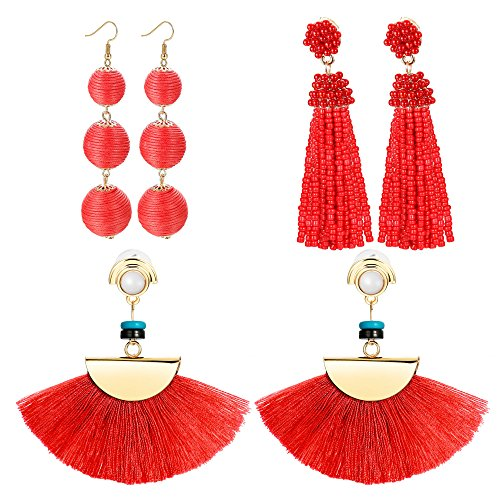 LOLIAS 3 Pairs Long Thread Tassel Earrings for Women Girls Fashion Dangle Drop Earrings (D:3 Pairs red)